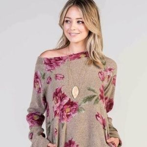 Bellamie | Gray & Pink Floral Sweater with Pockets